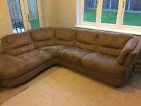 Sofa suite in brown/neutral suede (corner Sofa and 2 seater)