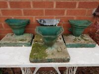 Vintage Cast Iron Water Hoppers. Free standing plant holders