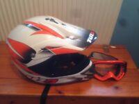 tuzo motocross crash helmet and goggles , size large