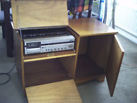 Stereo Radio, Cassette (record & play) and Record Player with cabinet and speakers