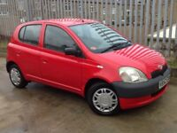 TOYOTA YARIS 1.0 GLS 5 DOORS HATCH BACK PETROL MANUAL RED ** LOW MILEAGE!!!! ++ LONG MOT!!!! **