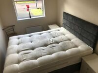 GREY VELOUR DOUBLE DIVAN BED WITH MATTRESS + WHITE CHEST OF DRAWERS AND MATCHING SIDE TABLES