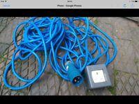 Camping Electric Hook Up Cable - Caravan/Tent Plug Socket Lead (Blue 10 Meter )