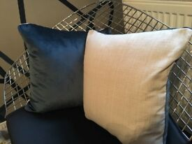 Pair of linen coloured cushions with teal velvet back