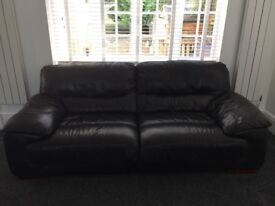 3 seater Leather Black sofa - DFS DAZZLE