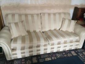 Gold and cream elegant striped 3 seater sofa
