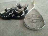 Squash racket with size 9 squash shoes almost new can be separated.