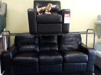 Exdisplay lazy boy black recliner 3&1