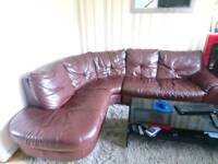 Brown leather corner sofa for sale