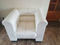 Single Seater Leather Armchair & Footstool