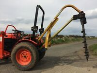 Post hole auger for Kubota, John Deere compact tractor. PTO powered, fits Cat 1 3 point linkage
