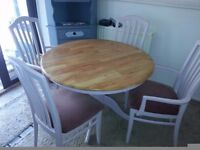 PINE FARMHOUSE SHABBY CHIC TABLE & 4 CHAIRS.