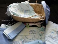 Baby boys cot bedding set and moses basket
