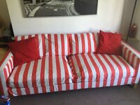 3 seater sofa bed with chaise removable covers, good clean condition, IKEA