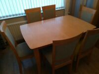 Contemporary Extendable Dining table and six chairs