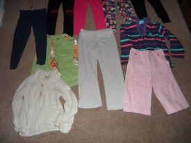 Mixed bundle of 10 girls items. Trousers, leggings, cardigan. Age 5-6