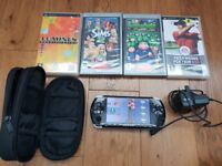 PSP 3003, hardly used, with charger, case and 4 games
