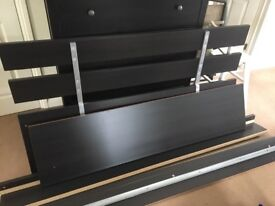 Ikea bed frame 160cm wide, black / brown, slatted base,no matress, collection only
