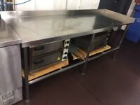 Long Stainless Steel Prep Table - Ref 9395