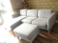 Ikea L shaped sofa with chair and foot stool