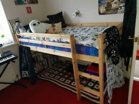 Pine mid sleeper, single bed