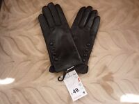 BNWT Ladies Black 100% Leather Lining Gloves Size: Small Rrp: 49 euros