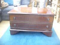 mahogany old style tv cabinet with shelf