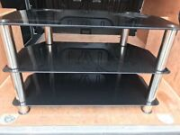 TV Glass Stand Black and Silver