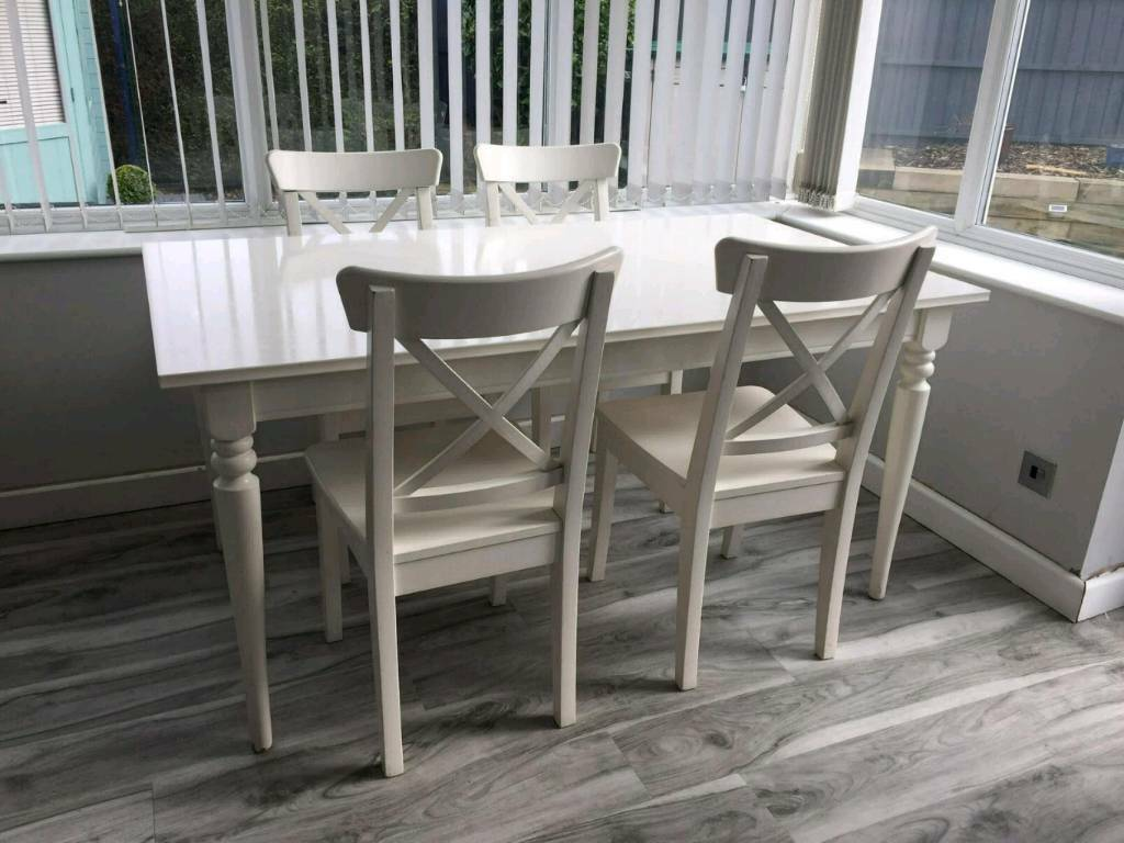 Ikea Ingatorp Extendable Dining Table With 4 X Ingolf Chairs