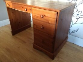 STURDY PINE DESK WITH FOUR DRAWERS