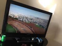 LCD TV + tv stand + sky decoder