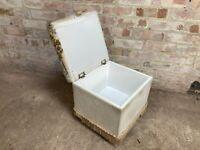 Vintage Velour Foot Stool Seat with Storage on Wheels