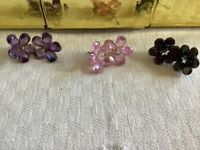 Butler and Wilson Glass Pierced Earrings. Available in black, pink and purple