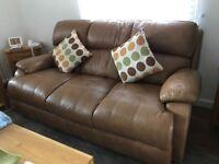 Luxury Leather Tan Sofa