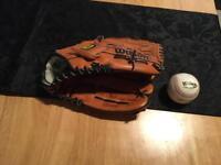 Wilson baseball glove and ball