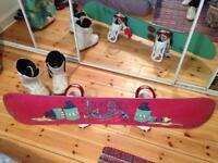 154 Rome SDS Crossrocket Snowboard, Bindings and boots