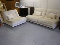 Suite of 3 Lounge Sofa Chairs in Beige. Good Condition