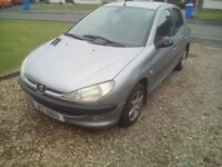 2002 Peugeot 206 lx 1.4 petrol engine,full year MOT,front electric windows,4 new tyres,good car
