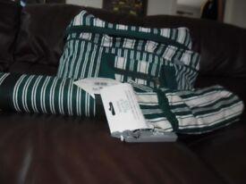 Flectalon: Wayfarer: Picnic blanket, bottle cooler, cool bag; Green and white striped