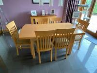 Dining Table, chairs, sideboard and corner unit