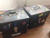 2 x vintage vinyl storage boxes