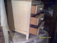 """SMALL """" 3 """" DRAWER CHEST 15"""" by 14"""" by 20"""" TALL ,? BATHROOM , SEAT , SOAPS & FLANNELS"""