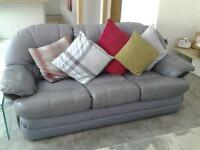 pair of 2 and 3 quality leather sofa's sensible offers considered.