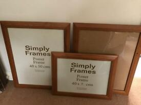 Set of 3 wood and glass frames