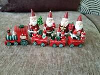 Train and santas