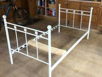 Single bed frame (white metal)