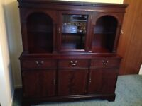 BEAUTIFUL DARK WOOD WALL CABINET /DRESSER IN EXCELLENT CONDITION