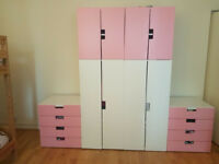Two Ikea children wardrobes + 2 chests of drawers - white and pink