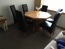 Hexagonal table and 6 chairs 114x114 with extension 114x 160cm good condition buyer to collect