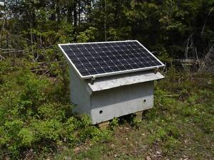Solar power box for weekend cottage, RV, work-site, or camp-site